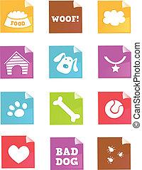 –, wektor, pies, ikony