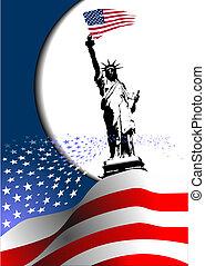 –, zjednoczony, image., orzeł, amerykanka, 4, stany, bandera, wektor, america., lipiec, dzień, niezależność