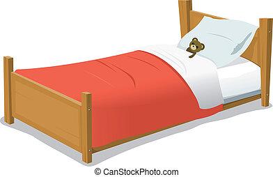 łóżko, rysunek, niedźwiedź, teddy