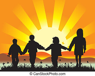 łąka, dzieci, połączony, chód, siła robocza, posiadanie, szczęśliwy