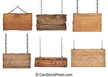 łańcuch, drewniany, znak, związać, tło, wisząc, wiadomość