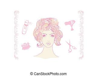 ładna dziewczyna, salon, fryzjer, ilustracja, wektor