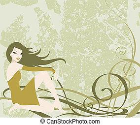 ładny, dziewczyna, grunge, tło, ilustracja, posiedzenie, khaki