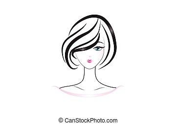 ładny, twarz, sylwetka, logo, kobieta