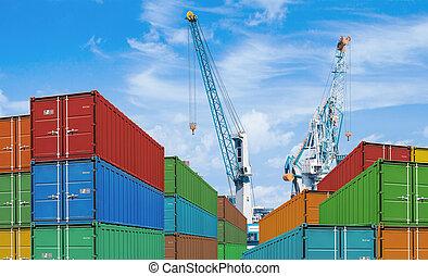 ładunek, albo, kontener, żurawie, okrętowy, port, eksport, import, stogi