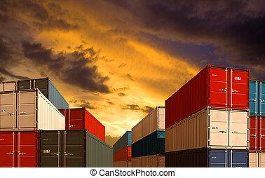 ładunek, albo, okrętowy, stogi, eksport, noc, import, port, kontenery