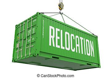 ładunek, container., przemieszczenie, -, zielony, wisząc