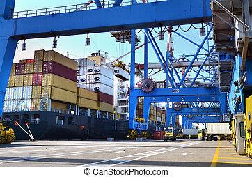 ładunek, -, fracht, okrętowy, port morski