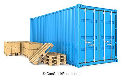 ładunek, goods., kontener