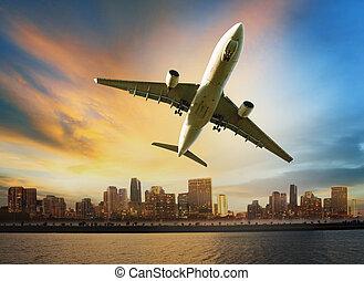 ładunek, korzystać, przewóz, nad, pasażer, przelotny, scena, powietrze, udogodnienie, samolot, przewóz, logistyka, miejski