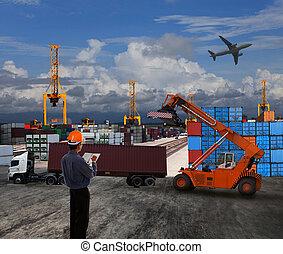 ładunek, korzystać, ziemia, kontener, pracujący, scena, dok, temat, handlarski, oficer, logistyka, import, świat, eksport, przewóz, człowiek