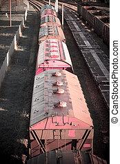 ładunek, przewóz, logisty, tło, dystrybucja, trains.