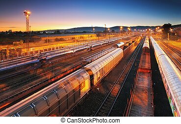 ładunek, przewóz, tranzyt, -, platforma, pociąg, fracht