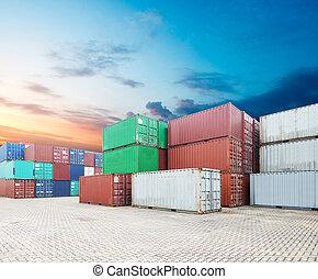 ładunek, stóg, kontenery, doki