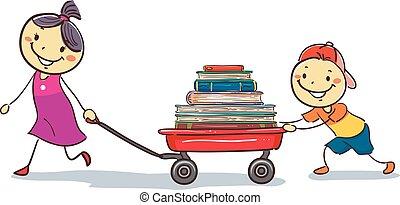 ładunek, wóz, dzieciaki, książki, ciągnący, wtykać