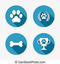 łapa, poznaczcie., zwycięzca, pies, wreath., icons., pieszczochy, laur