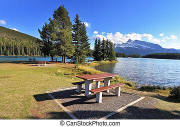ława pikniku, stół, drewniany
