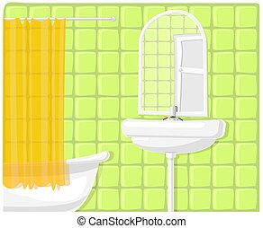 łazienka, ilustracja, wektor