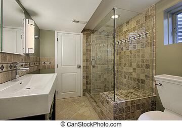 łazienka, przelotny deszcz, szkło