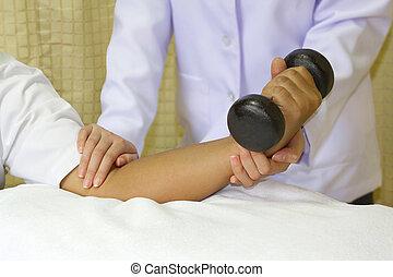 łokieć, połączenie, trening, mięsień, rehab