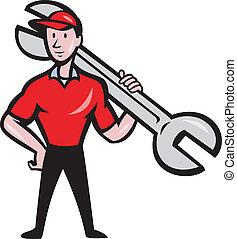 łopatka, klucz do nakrętek, utrzymywać, rysunek, mechanik