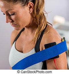 łopatka, zachęta, elektrody, umieszczony, pacjent, elektryczny, fizyczny, therapy.