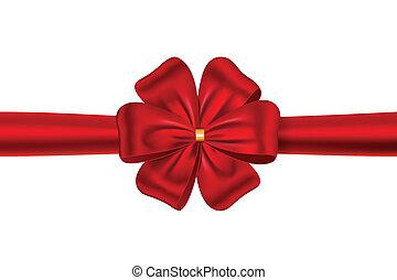 łuk, dar, wstążka, czerwony