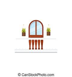 łuk, kwiaty, okno, balkon, wejście, albo