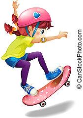 łyżwiarstwo, kobieta, młody