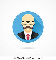 łysy, wektor, wąsy, człowiek