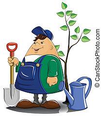 łzawienie, drzewo, łopata, ogrodnik, może