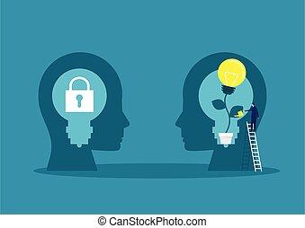 łzawienie, wektor, rośliny, mindset, mózg, wzrost, cielna, pojęcie, biznesmen