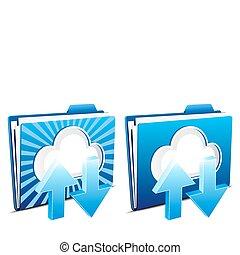 ściąganie, upload, chmura, obliczanie