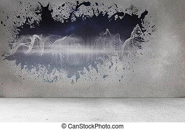ściana, bryzg, odkrywczy, energia, machać