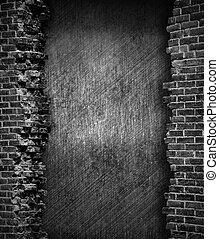 ściana, cegła, grunge, tło