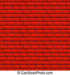 ściana, cegła, seamless, struktura, czerwony