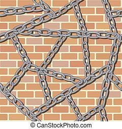 ściana, cegła, tło, seamless, łańcuch