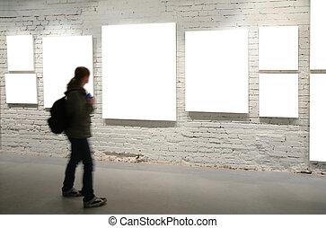 ściana, chód, przez, układa, dziewczyna, cegła
