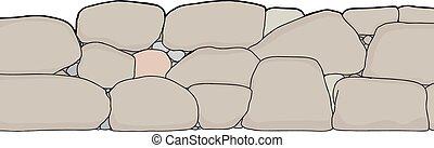 ściana, cięty, kamień, krótki, poza