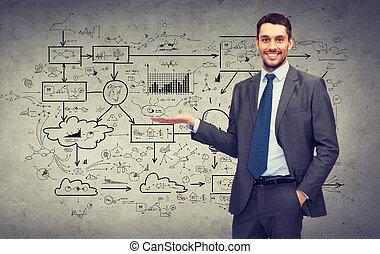 ściana, cielna, pokaz, konkretny, coś, plan, człowiek