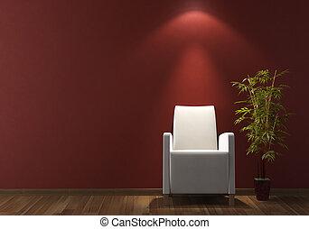 ściana, fotel, projektować, wewnętrzny, biały, bordeaux