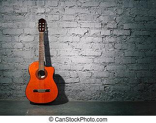 ściana, gitara, akustyczny, grungy, nachylenie