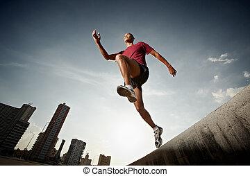 ściana, hispanic, wyścigi, skokowy, człowiek