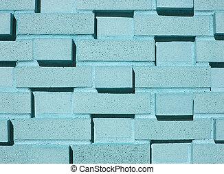 ściana, multi-płatowaty, cegła, aqua