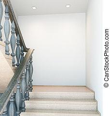 ściana, opróżniać, schody, wewnętrzny
