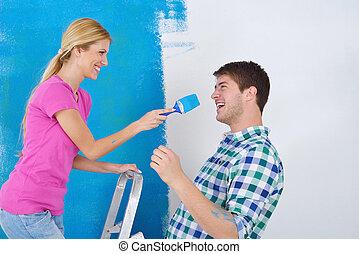 ściana, para, malować, dom, nowy, szczęśliwy
