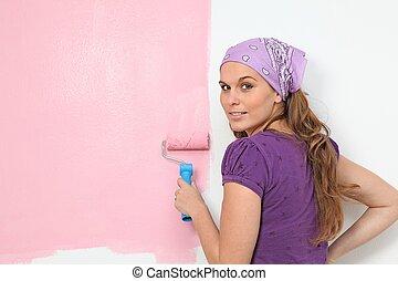 ściana, pokój dziecinny, dekorowanie, kobieta, malarstwo