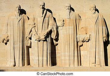 ściana, reformacja, switzerland., genewa