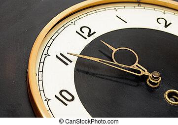 ściana, retro, zegar
