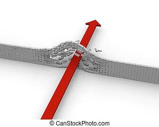 ściana, rozerwanie wskroś, strzała